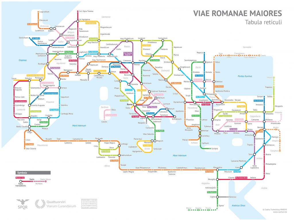 A subway-style diagram of the major Roman roads, based on the Empire ca. 125 AD