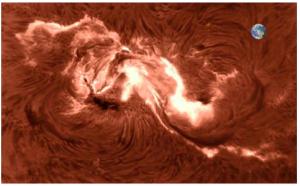 Solar Region AR2673 and Earth on scale
